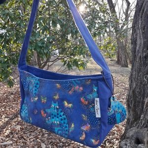 Vintage Cat Bag Cobalt Blue Kitty Butterfly Charm